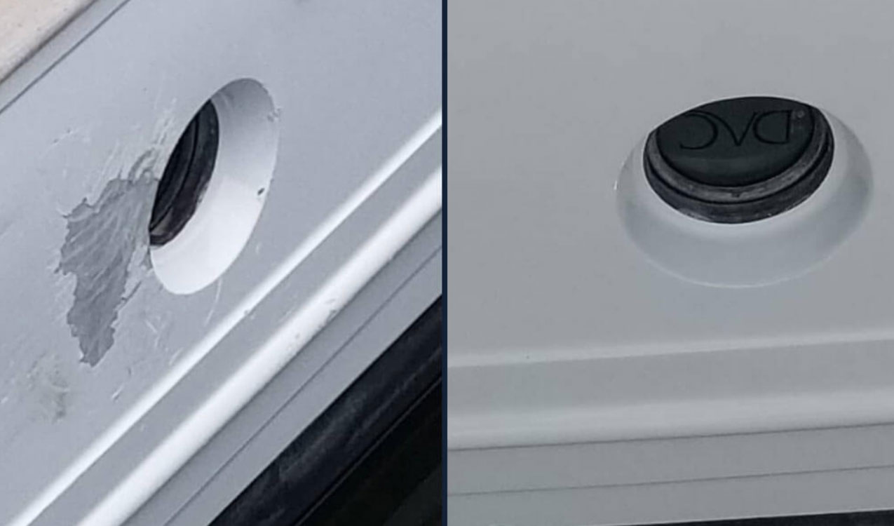 Before and after of gelcoat repair.